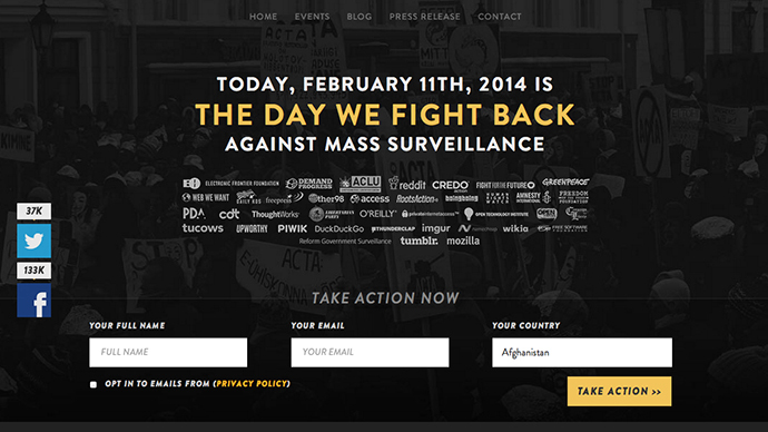 'The day we fight back': 6,000 websites protest surveillance, honor Aaron Swartz